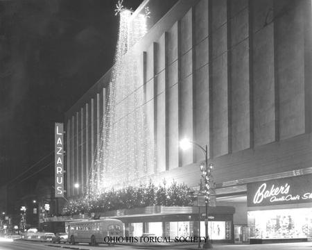 Storefront of the Lazarus department store decorated for Christmas, S. High Street, Columbus, Ohio, ca. 1955.