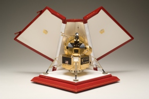Gold model of the Lunar Lander hand crafted by Cartier Jewelers and presented to astronaut Neil Armstrong.