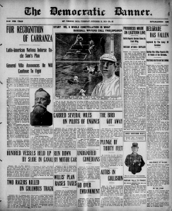 "Front page of ""The Democratic Banner,"" Mount Vernon, Ohio, October 12, 1915."