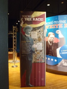 "Scene from the exhibit ""Headed to the White House"" produced by the National Constitution Center."