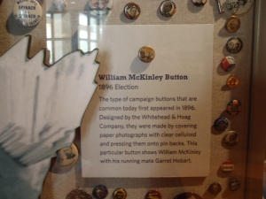 William McKinley button loaned from OHS to the Constitution Center.