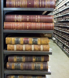 Bound volumes of local government records at the Ohio Historical Society.
