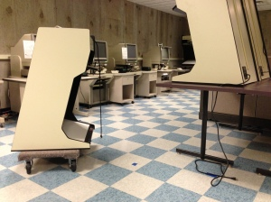 After photo of the new tile in the Microfilm Room.