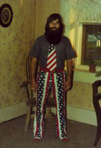 Man in US Bicentennial-inspired clothes, 1976.