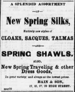 Bain & Son advertisement from the Daily Ohio Statesman, March 28, 1863, Image 3, Col. 5