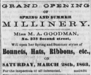Miss M.A. Goodman advertisement from the Dayton Daily Empire, March 24, 1863, Image 1, Col. 3).