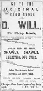 Original Cash Store of D. Will advertisement from the M'Arthur Democrat, March 5, 1863, Image 4, Col. 5-6.