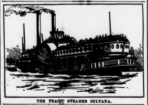 """The Tragic Steamer Sultana."" Source: Chicago Eagle, March 26, 1898, Page 6 (via Chronicling America)."