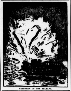 """Explosion of the Sultana."" Source: Chicago Eagle, March 26, 1898, Page 6 (via Chronicling America)."