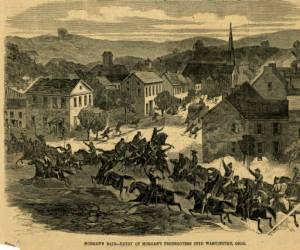 Illustration of Morgan's Raid published in Harper's Weekly, 1863.