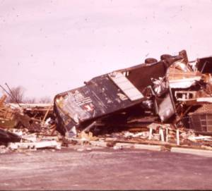 Tractor trailer overturned by a tornado that struck Xenia, Ohio in 1974.