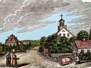 Print depicting the village of Zoar founded in 1817 by German separatists.