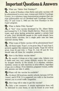 "Pamphlet distributed at ""Sabin Sundays"" that answered questions about the oral polio vaccine."