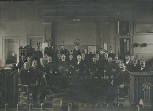 Photograph depicting the Green County Bar Association in 1901.  The photograph was placed in a time capsule made from a copper box and placed in the cornerstone of the new Green County Courthouse in 1901. The box was was opened in 2001.  Used with permission from the Greene County Archives and Records Center.