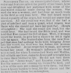 Description of Sojourner Truth's Women's Rights Convention speech from the June 6, 1851 issue of the New-York Daily Tribune (via Chronicling America).