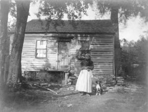 Rhoda Jones near her cabin near Ripley, Ohio.  She is reported to have been a participant in the Underground Railroad.