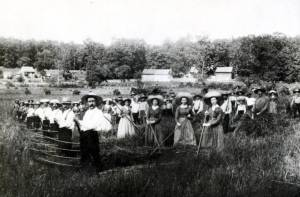 Men and women of Zoar working in their communally owned feeds.