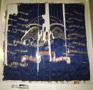 Reverse side of the 23rd Ohio Volunteer Infantry flag after glue and nylon backing was removed.