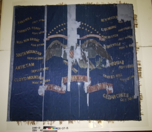 Regimental colors of the 23rd Ohio Volunteer Infantry after the conservators encapsulated the flag in stabiltex.