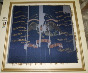 Completely conserved regimental colors of the 23rd Ohio Volunteer Infantry in its new frame and ready to display.