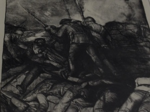 "Detail of lithograph by George Bellows titled ""The Charge.""  It depicts a violent image of World War I trench warfare."