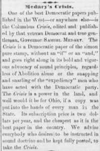 Excerpt from the Dayton Daily Empire, a fellow Copperhead newspaper, about the Crisis (November 20, 1863, Image 2, col. 2 [via Chronicling America]).