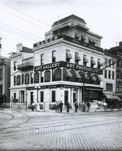 Exterior photograph of Baker Art Gallery, on the corner of State and High Streets, Columbus, Ohio, ca. 1905.
