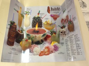 Drink Menu from the Kahiki Supper Club formerly in Columbus, Ohio.