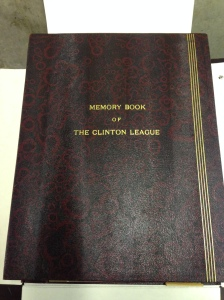 Clinton League Memory Book in storage at the Ohio Historical Society Archives/Library.