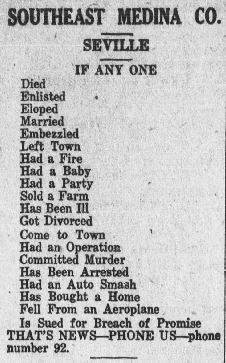 A short list from the Medina Sentinel of what they consider to be newsworthy.  Other newspapers featuring local news would have published similar information.