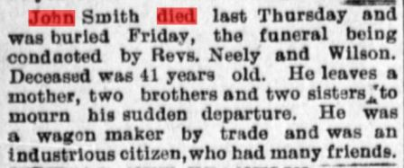 News of John Smith's death from the Stark County Democrat (July 14, 1898, Image 5, col. 1).