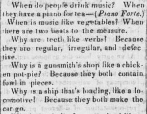 A group of conundrums from the April 19, 1850 issue of the Lancaster Gazette (p.1, col. 6).