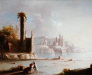 "Painting titled ""Ruins of Carthage/Light and Shade"" from the fine art collections of the Ohio Historical Society."