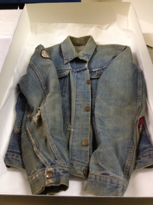 H 52949 was recently taken off exhibit after being displayed at the History Center for years. Alan Canfora was wearing this jacket on May 4, 1970, when he was struck by a bullet fired by an Ohio National Guardsman on the campus of Kent State University. To prevent light damage, we have taken it off the   exhibit floor, but researchers still have access to it in our collections facility.