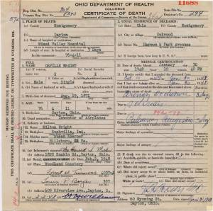 Example of an Ohio State Death Certificate.  This one is for Orville Wright, Inventor of Airplanes.