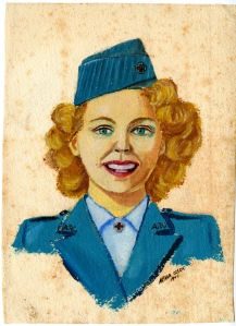 Portrait of Birdie Schmidt Larrick by Arthur Olsen, artist of the portrait on the Birdie Schmidt ARC B-24 Liberator.