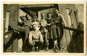 Birdie Schmidt and Helen Malsed along with other actors at the Stadt Theater in Heidelberg, Germany. September, 1945.