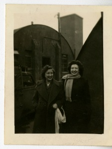 Photograph of Birdie Schmidt Larrick and Helen Malsed. December 1944.