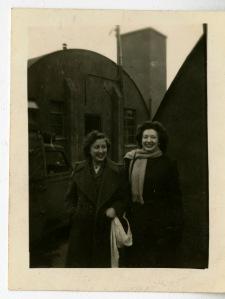 Photograph of Birdie Schmidt Larrick and Helen Malsed. December 1944.