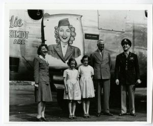 "Christening of the ""Birdie Schmidt ARC"". Left to right: Birdie, Honorable Frances (mother of Princess Diana) and Mary Roche, their father Lord Fermoy, and Lt. Col. Lorin L. Johnson, the 392nd CO."