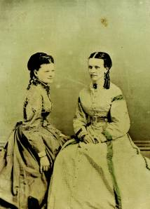 Hand colored, tintype portrait of Josephine Klippart and her mother, Emmeline Rahn Klippart.