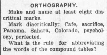 The orthography section from the September 1915 teacher county certification exam (Greenville Journal, September 2, 1915, Image 3, col. 4).