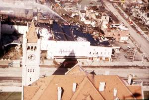 Photograph tornado damage in Xenia, Ohio, 1974.