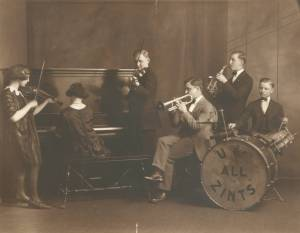 Frederick Zint playing in the Zint Family Orchestra with his brothers and sisters.