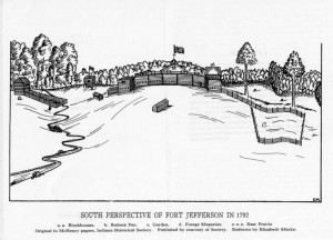 Image of Fort Jefferson was redrawn by Elizabeth Menke from the original in the McHenry Papers, at Indiana Historical Society. Published by courtesy of the Society, in Fort Jefferson, by Frazer Ells Wilson, 1950 copyright.  An image of the original drawing appears in The Mapping of Ohio, by Thomas H. Smith, page 87.  OHS also has a copy of the image in SC 283.