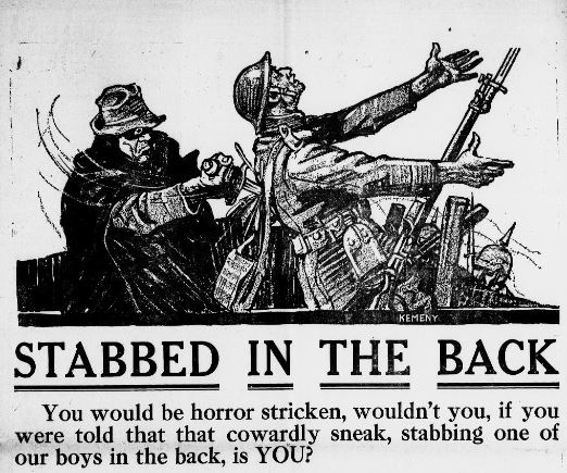 """In World War I, dramatic advertisements imploring citizens at home to support the troops fighting in Europe through the purchase of Liberty Bonds were common.  This one goes on to say, """"Yet when you refuse to buy all the Liberty Bonds that you possibly can...you are refusing to do your share"""" in protecting soldiers """"against the brutal enemy."""""""