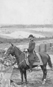 Lieutenant General William T. Sherman (1820-1891) appears mounted on his horse Duke in Atlanta, Georgia during the Civil War, 1864.