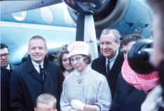 Neil Armstrong coming back to his hometown in Wapakoneta, Ohio after NASA mission Gemini 8. Received at Lima, Ohio airport by mother Viola Armstrong and Ohio Governor James A. Rhodes.