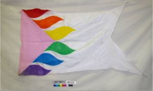 """Flaggots Ohio"" is a color-guard and performing-arts organization that was founded in 2002 in Columbus, Ohio. They have performed at Gay Pride and arts events across the country. Matt Eisert of Columbus, Ohio, donated this flag on behalf of Flaggots Ohio in 2007. The Columbus Gay Men's Chorus carried the flag in the 1992 Gay Pride Parade and displayed the flag when performing at the 1996 Gala Chorus Convention in Tampa, Florida."