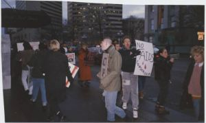 "From the GOHI collection, ACT UP Protesters at the Columbus Dispatch, protesting the perceived lack of AIDS coverage at the Dispatch. ACT UP is an AIDS advocacy organization. The signs read, ""ACT UP"" and ""No AIDS Censorship."""